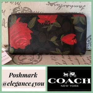 ✨COACH✨Last 1!✨Red Rose & Camo Wallet NEW!